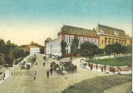 Calea Rahovei in dreptul Dambovitei Palatul de Justitie, Spitalul Brancovenesc si Biserica Domnita Balasa