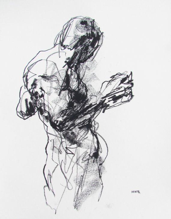 Expressive Abstract Figure Drawing   11 x 14  by derekoverfieldart, $50.00