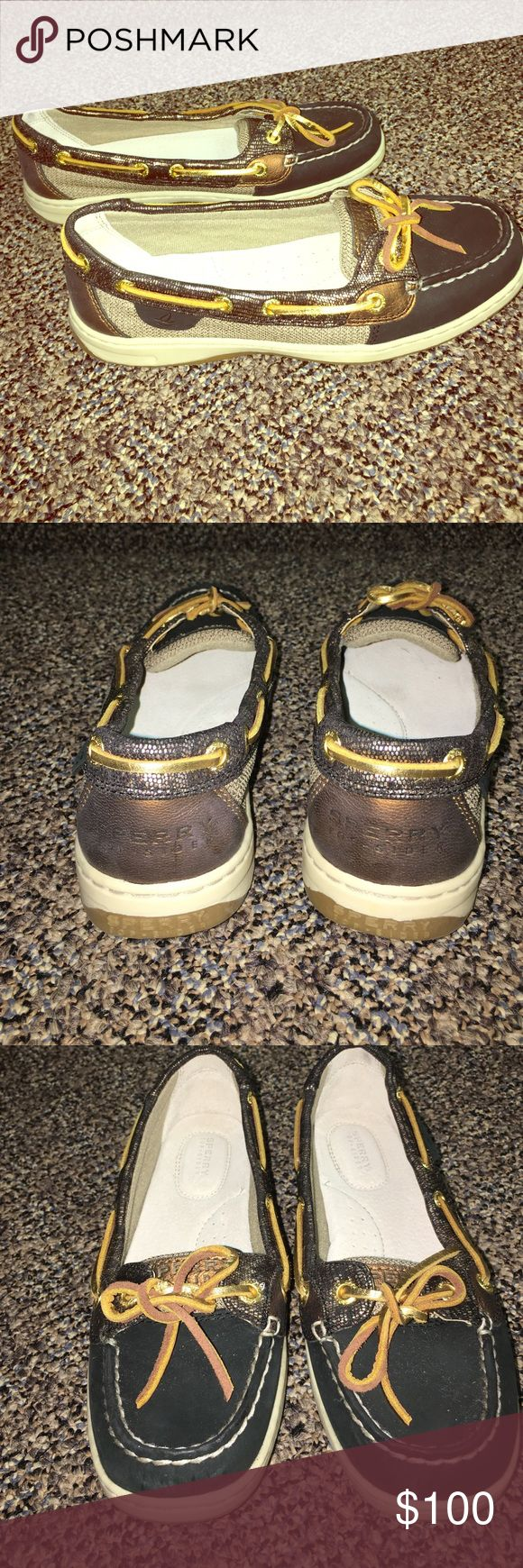 Black Sperrys with Gold Detailing Only worn 3-4 times. In Great Condition! Willing to take lower offers if reasonable. Sperry Top-Sider Shoes Flats & Loafers