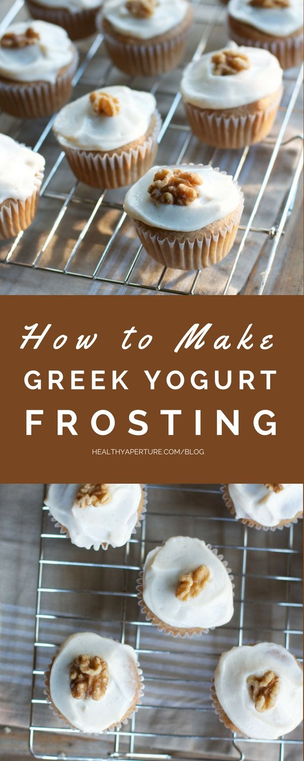 A healthier version of cream cheese frosting for your cakes, cupcakes and cookies. Learn how to make frosting from greek yogurt