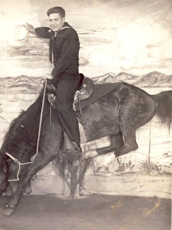 WWII SAILOR on Bucking BRONCO Horse Novelty Studio Arcade Photo Postcard 1945 San Diego California