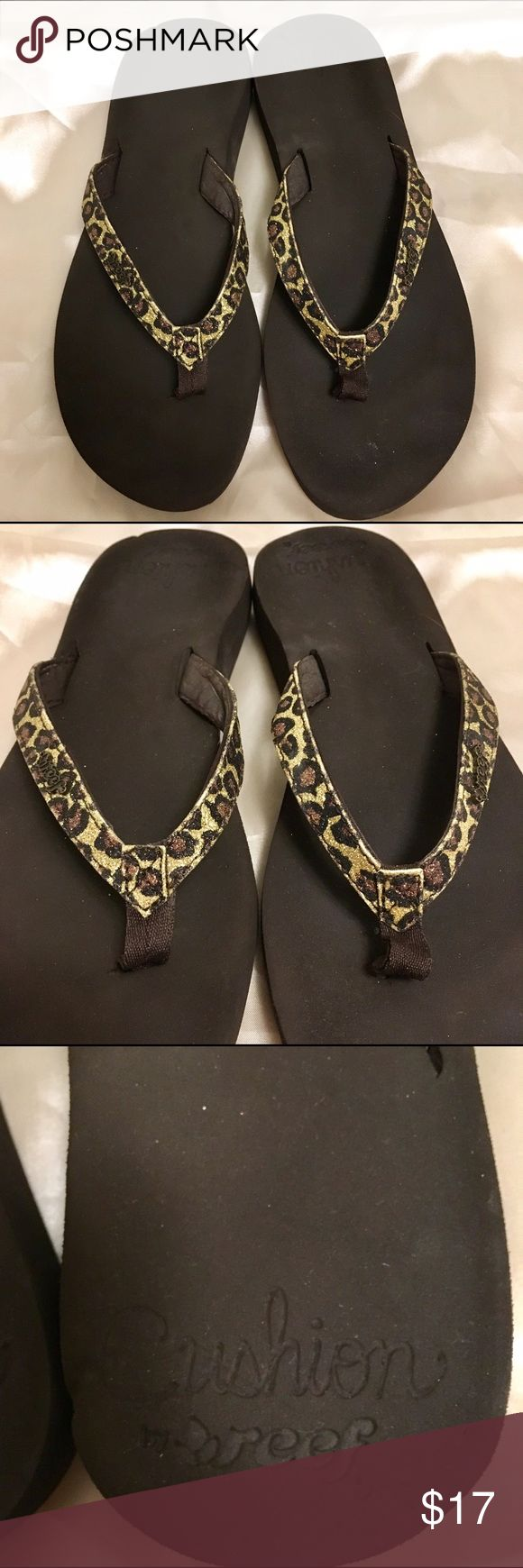 Cute reef flip flops! They're dark brown with glittery leopard print straps and part of the cushion line so they're amazingly soft. Love these but lately I've been wearing my other reefs more. Still in great condition! ☺️☺️ Reef Shoes Sandals