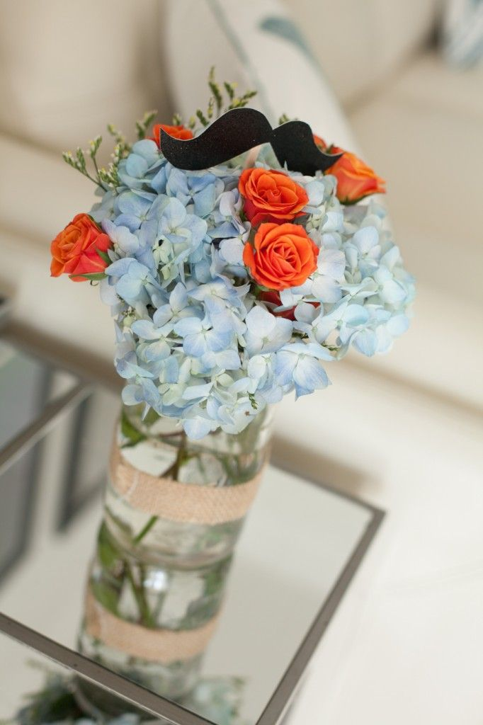 Small details are literally planted throughout the #mustache bash baby shower. Loving this arrangement and color scheme.