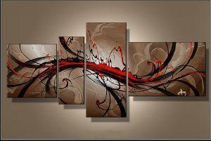Tableau peinture Beige et Rouge