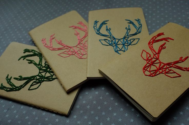 Diy Notebook Cover Ideas : Diy deer emboiderie notebook moleskine cover