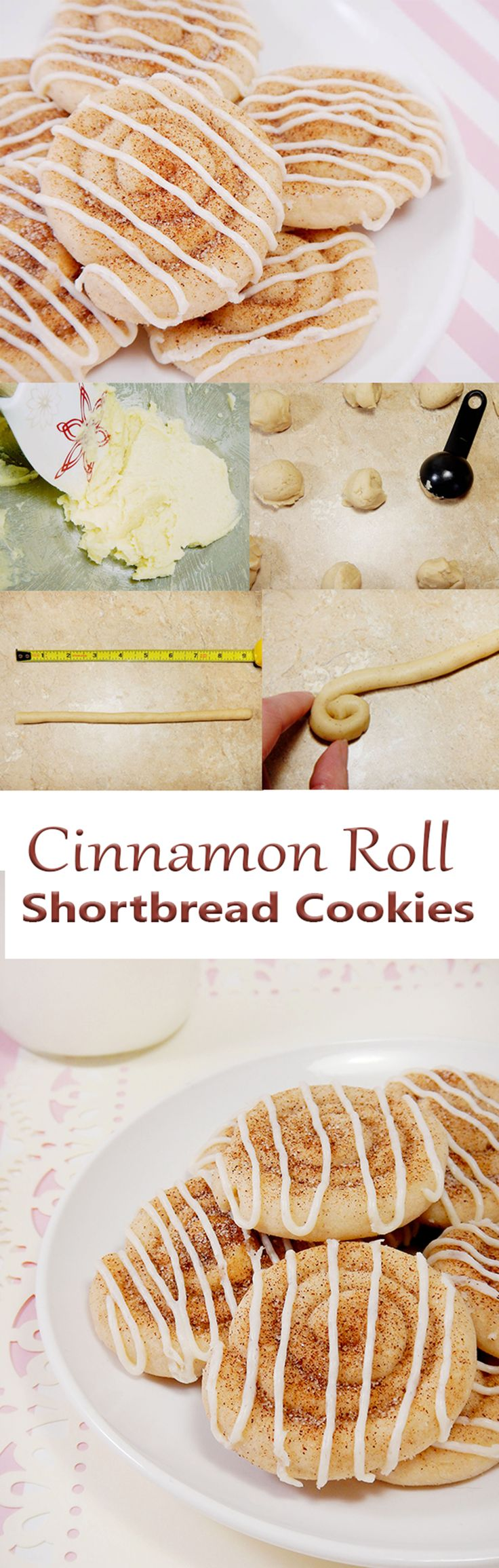 Cinnamon Roll Shortbread cookies.  These cinnamon swirled cookies make a sweet gift for Christmas, Mother's Day, or pretty much any holiday!  Photo tutorial included. Fun for kids to make.
