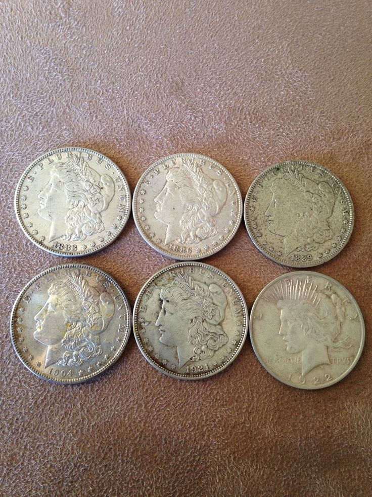 Item specifics    									 			Composition:   												Silver     							 							  6 Morgan And Peace Silver Dollar Coins  Lot 3  Price : $110.50  Ends on : 11 hours Order Now