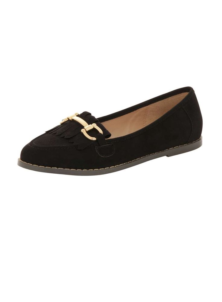 Womens *London Rebel Suede effect fringe loafers- Black