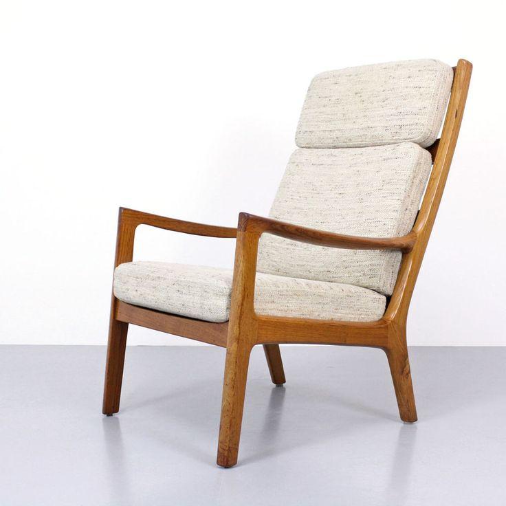 ole wanscher danish modern highback lounge chair senator 60s teak sessel 60er balzac lounge chair designer