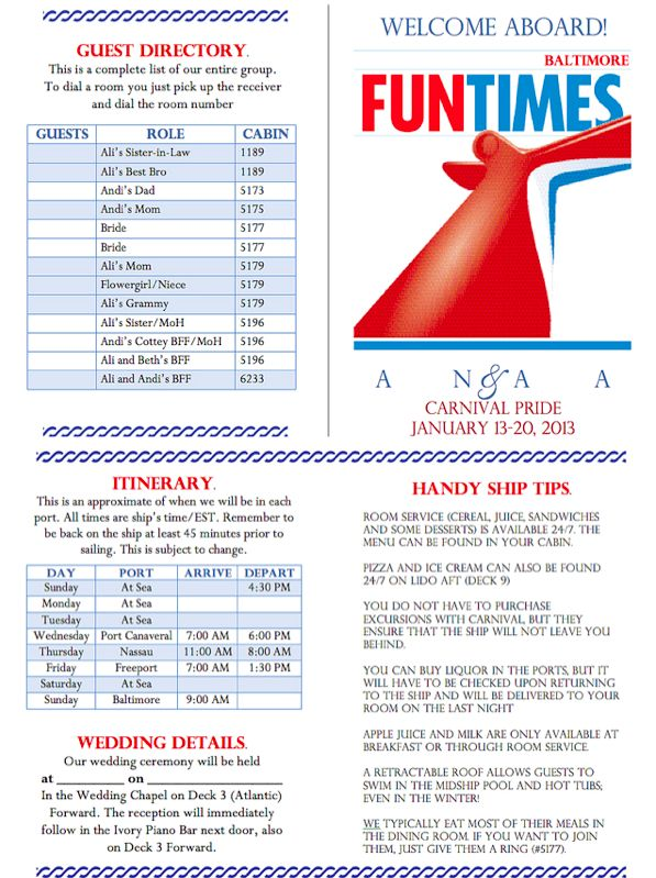 Carnival Cruise FunTimes themed wedding welcome letter