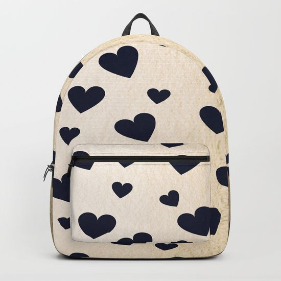 """Our Backpacks are crafted with spun poly fabric for durability and high print quality. Thoughtful details include double zipper enclosures, padded nylon back and bottom, interior laptop pocket (fits up to 15""""), adjustable shoulder straps and front pocket for accessories. Dry clean or spot clean only. One unisex size: 17.75""""(H) x 12.25""""(W) x 5.75""""(D). Back to school backpack #society6 #backpack #loveschool #backtoschool #school #hearts #love #gold #cute #pretty"""