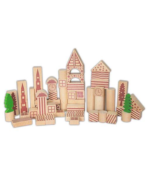 Set de cuburi de construit din lemn natur din 100 de piese