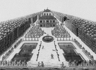 Ostrov - letohrádek | nový letohrádek na rytině zámecké zahrady z roku 1715