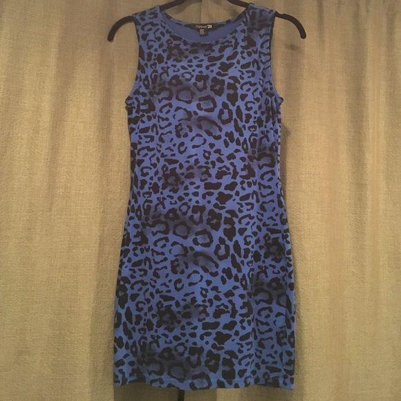 Cheetah Print Dress Blue cheetah print body con Forever 21 Dresses Mini