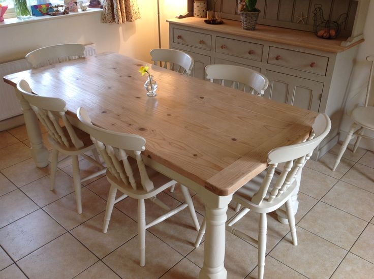 Pine kitchen table and chairs painted in Annie Sloane Old Ochre chalk paint.