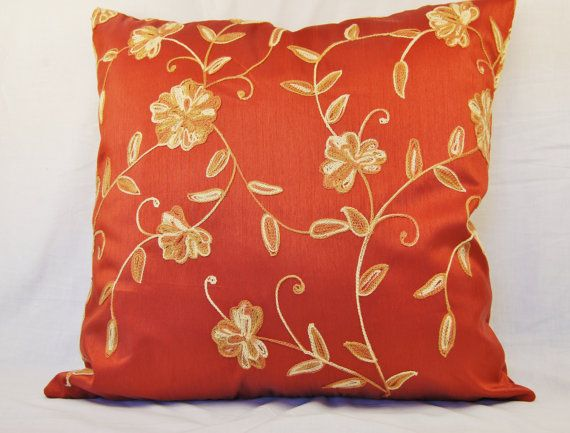 Red And Orange Decorative Pillows : Floral Decorative Pillow Red Orange 18 inch by refinedconcepts, $32.00 Refined Concepts ...