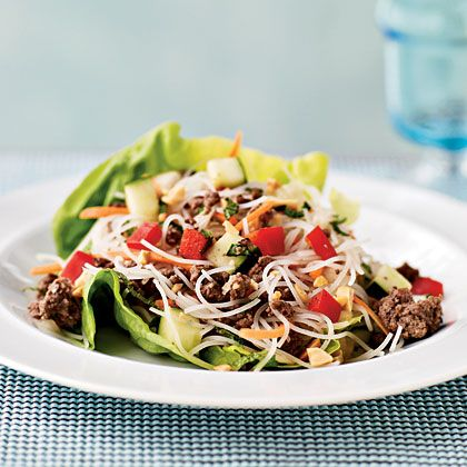 Asian Beef and Noodle-Filled Lettuce Cups | MyRecipes