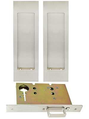 Premium Passage Pocket-Door Mortise Lock Set with Rectangular Pulls | House of Antique Hardware