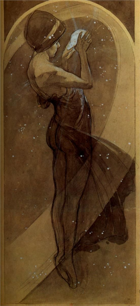 [North Star  by Alphonse Mucha    Completion Date: 1902      Love Mucha so much! <3] Beautiful and great use of color scheme.