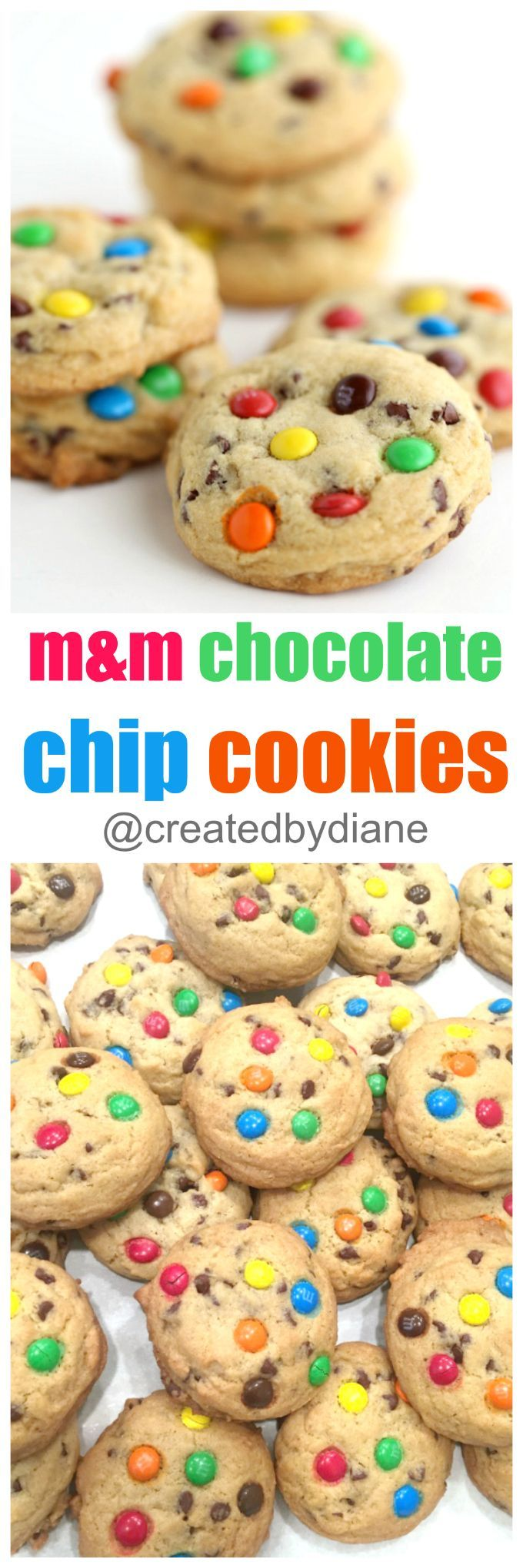 chewy and thick chocolate chip cookies with mini chocolate chips and mini m and m's are like a party all on their own