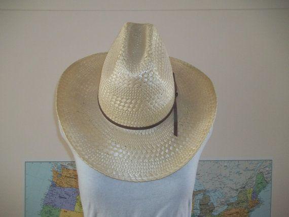 Vintage Stetson Straw Hat  light straw Stetson Stallion Cowboy Western Hat size 7 3/8