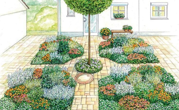 Ein Vorgarten mit schnurgeradem Weg zur Haustür ist zwar praktisch, aber nicht besonders attraktiv. Wir haben zwei Gestaltungsideen, mit denen der Vorgarten Besuchern einen tollen Anblick bietet. Mit Pflanzplänen zum Herunterladen.