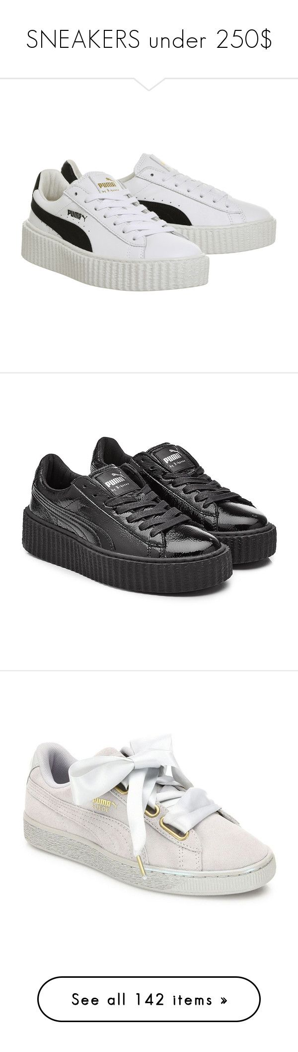 """""""SNEAKERS under 250$"""" by fashionbymgda ❤ liked on Polyvore featuring shoes, black and white shoes, white black shoes, black and white creeper shoes, leather shoes, puma footwear, sneakers, black, black trainers and black sports shoes"""
