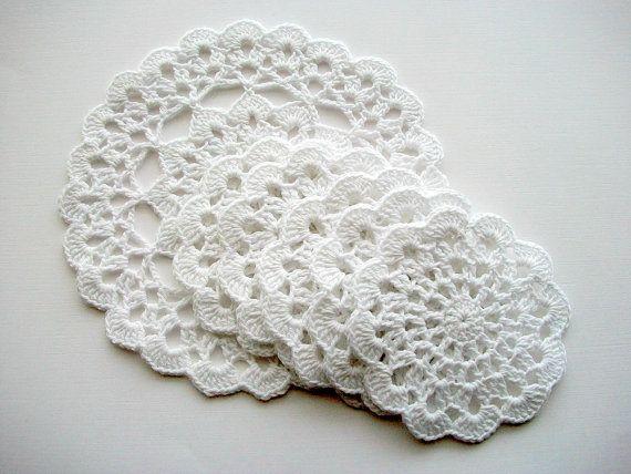 Crochet Coaster Set White Cotton Lace 6 by HandcraftedorVintage