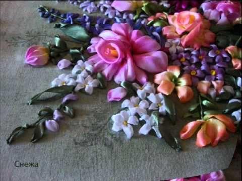 ▶ How to make French ribbonwork silk flowers - YouTube
