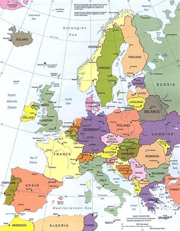 Cartina Dell Europa Geografica.Carta Geografica Dell Europa Mappe Europa E Mappe Illustrate