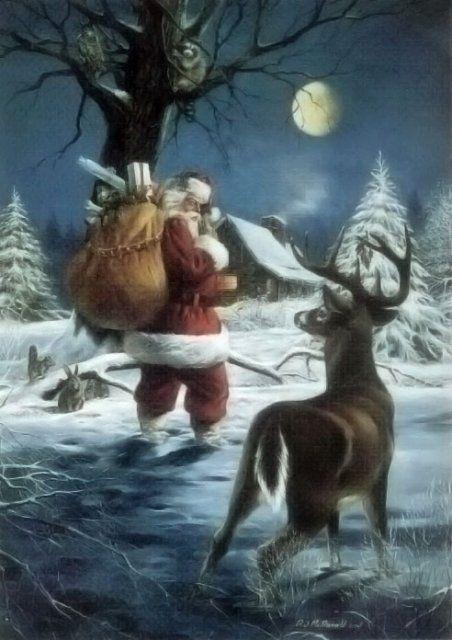 ** Gorgeous image of Santa & a Deer **
