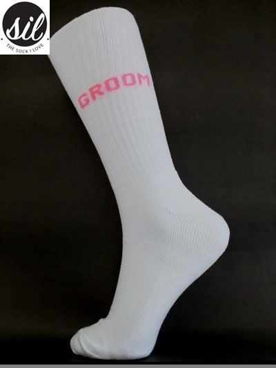 Socks for the Groom. White sock with Fluorescent Pink wording. #socksforafrica #thesockilove #sil