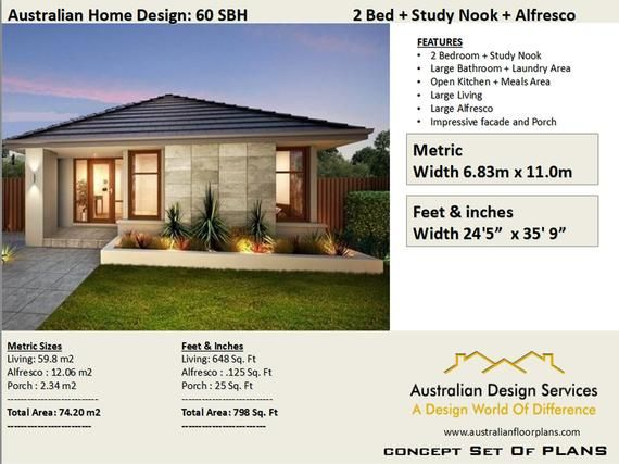 60 M2 645 Sq Foot 2 Bedroom House Plan 60 Sbh Concept House