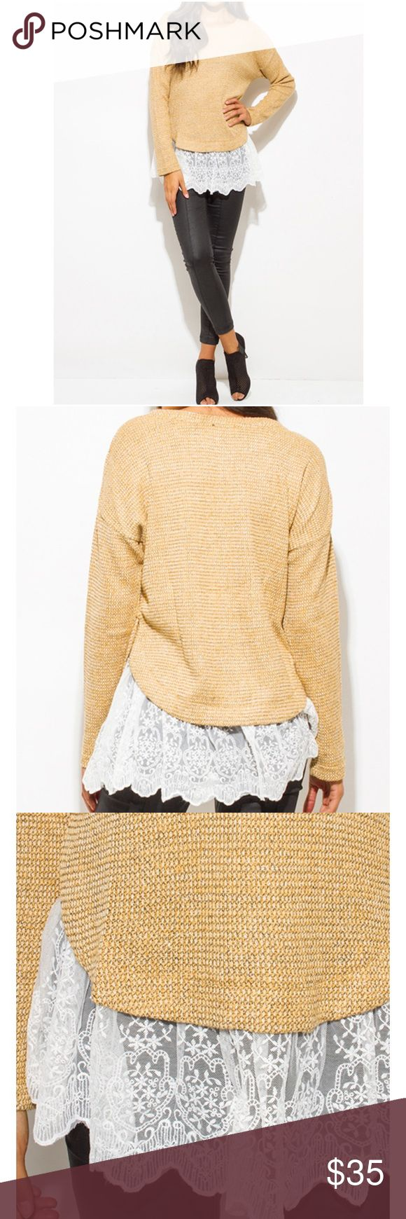 Coming-Khaki/mustard/beige boho sweater knit top. Khaki/mustard/beige long sleeve lace hem boho sweater knit top. 60% Acrylic and 40% polyester with contrast 100% polyester. Trendy, comfy and so pretty. FIRM PRICE. Tops