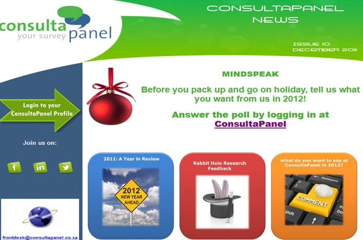 This is our December 2011 newsletter. Read the full version here: http://www.consultapanel.co.za/Newsletters/issue_10/index.html