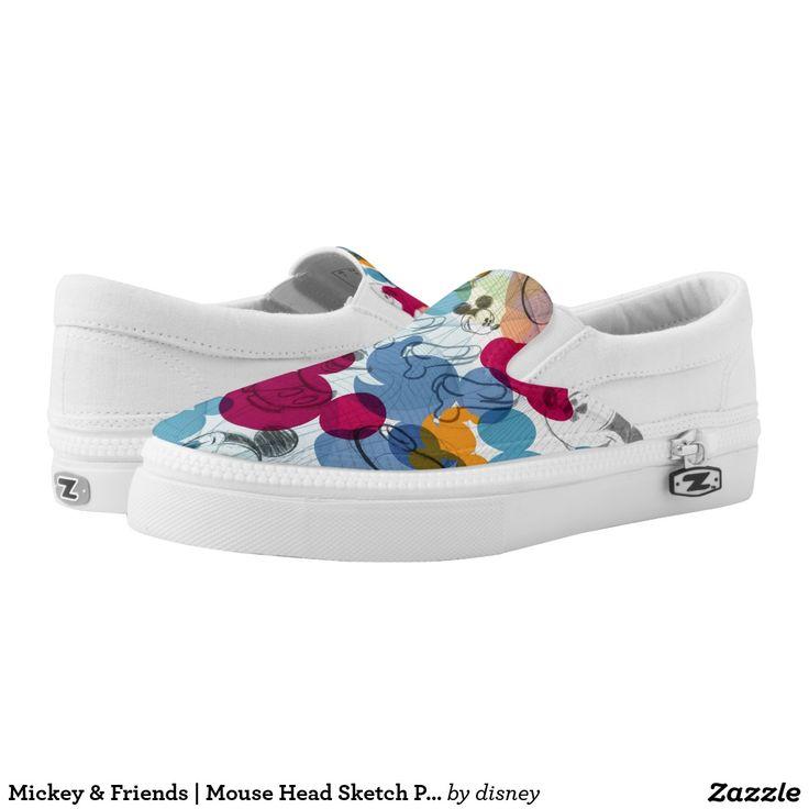 Mickey & Friends | Mouse Head Sketch Pattern. Producto disponible en tienda Zazzle. Calzado, moda. Product available in Zazzle store. Footwear, fashion. Regalos, Gifts. #zapatillas #shoes