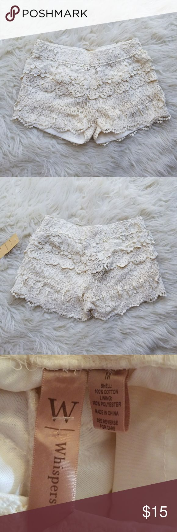 Nwt Cream Lace Shorts Cream colored lace shorts, perfect for summer!  Brand: Whispers Size: Medium Condition: nwt, no flaws at all. Perfect condition.   #lace #laceshorts #softshorts #flowyshorts #fesivalwear #fesitvalshorts #nwt #summer #summerfashion #summerstyle #fashion #style #cheap #styleforcheap #xoxopf #bundleandsave Shorts
