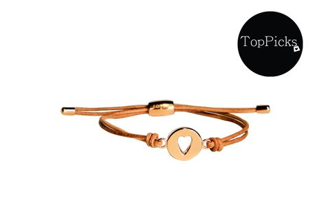 Rose Heart Wrist Wrap Beige Leather and Stainless Steel  Bracelet
