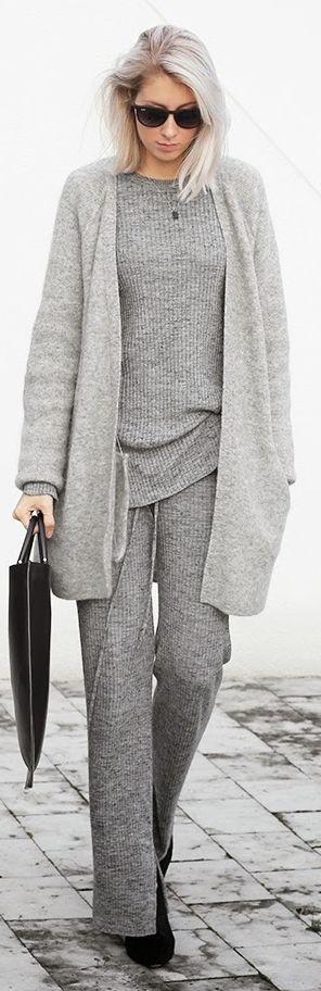 Grey Monochromatic Stripe Suit.  I think it needs a splash of colour to lift it.
