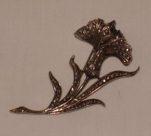 Buy VINTAGE STERLING SILVER AND MARCASITE FLOWER BROOCH c1940'sfor R495.00