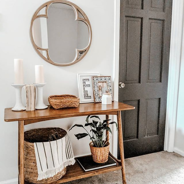 Eclectic Boho Entry Way With Black Doors And Thrifted Decor