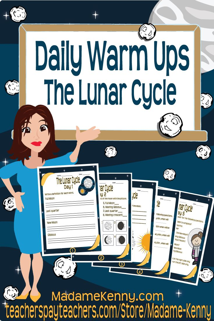 Our latest science themed product is titled science daily warm ups: Lunar Cycle. This product could be the perfect addition to your space unit. For more information about our latest product please click... https://www.teacherspayteachers.com/Product/Daily-Warm-Ups-Lunar-Cycle-2440700