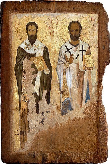 St Basil the Great and St Nicholas. circa AD 1045-50. High-end Constantinopolitan art. Icon gallery, Ohrid, FYRoM.