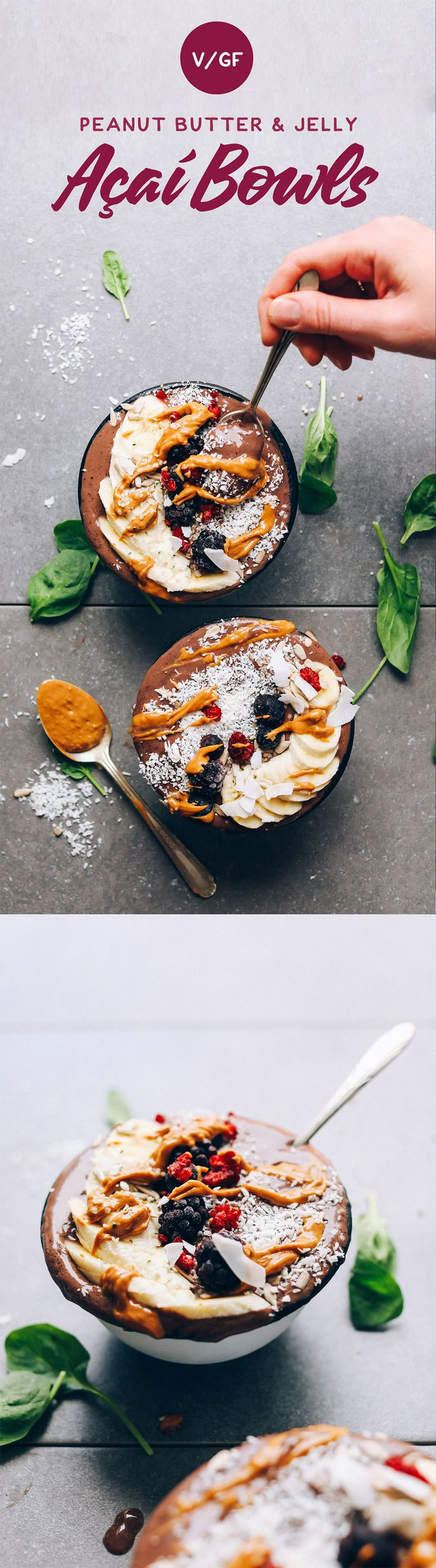 PEANUT BUTTER & JELLY AÇAÍ BOWLS - AMAZING PB&J Acai Bowls! Low sugar, super healthy, tastes like a MILKSHAKE!