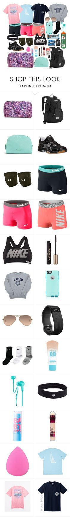 """""""Volleyball Camp Essentials"""" by whalesandprints ❤ liked on Polyvore featuring Vera Bradley, The North Face, Asics, Under Armour, NIKE, L'Oréal Paris, Champion, OtterBox, Ray-Ban and Fitbit"""