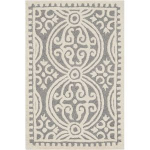 Marin Textured Area Rug in Silver and Ivory - Casafina
