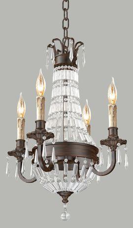 Provincial Empire Bronze Wood Chandelier - 4 Lights