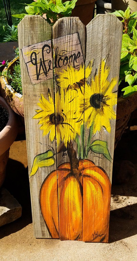Pumpkin sunflowers Welcome wooden Fall art on reclaimed wood fence Rustic Artist Bill Miller of Miller's Art/ Fall/Front Porch decor