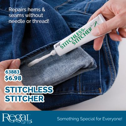 STITCHLESS STITCHER Instant, permanent bonding for almost any fabric, including vinyl and leather. Fix holes, hems and seams on clothing, furniture, autos, curtains, purses, tents and more. Holds through washing, dry cleaning and ironing. 1.4 oz