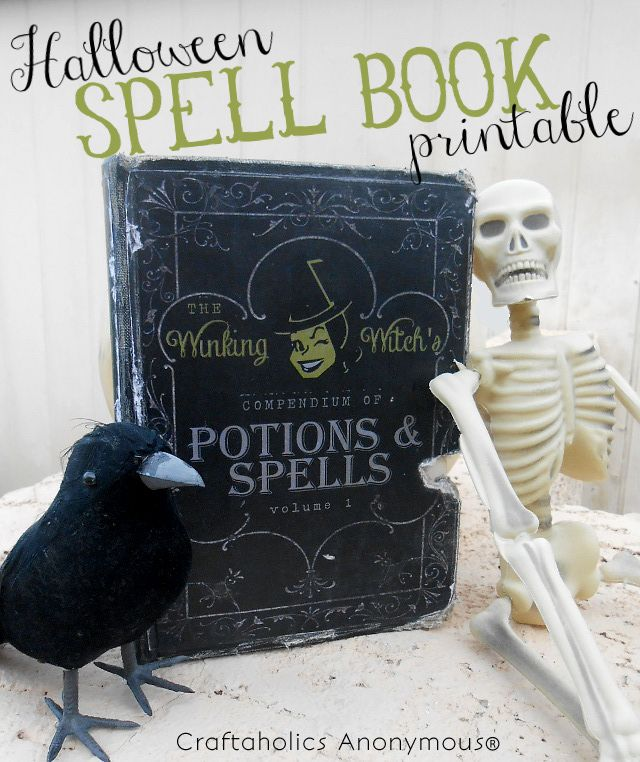 Spookify your bookshelves with this free Halloween printable! A Halloween Spell Book Printable that is unique and super cute with most adorable witch ever!